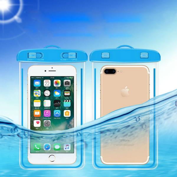 Borse da nuoto Borsa impermeabile con custodia per telefono subacquea luminosa per iPhone 6 6s 7 universale tutti i modelli da 3,5 pollici -6 pollici