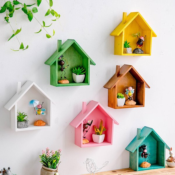 2019 Creative Wooden Wall Decor Retro Colored House Shaped Shelf Shelves Wood Children Bedroom Craft Decor Wall Mounted Display Shelf Sh190918 From