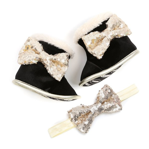 Winter Baby Toddler Shoes Babies Warm Booties Faux Fleece Anti-Slip Toddler Newborn Baby Shoes Bow Crib Snow Boots