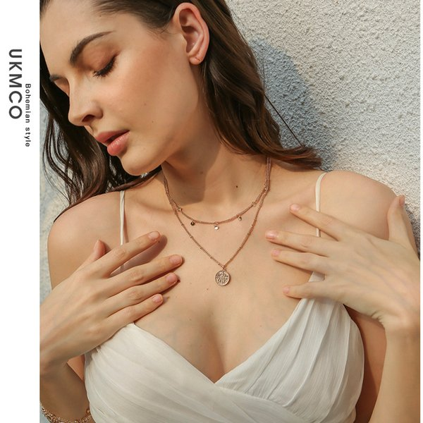 UKMOC Original Multi-storey Necklace New Product Accessories Fashion Minimalism Alloy BA Sub Necklace Female
