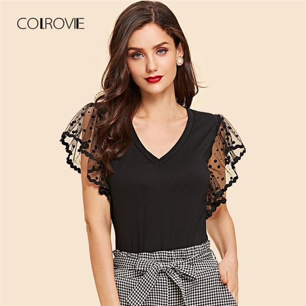 Colrovie Black Dot Mesh Sleeve V Neck T-shirt 2018 Summer New Slim Flounce Sleeve High Street Top Tee Basic Women Clothing Y190123