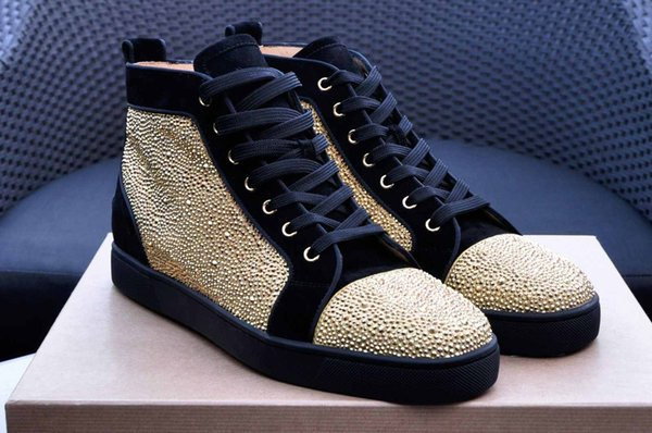 [With Boxes]Wedding Designers Brand Men Red Bottom Luxury Sole Sneaker Suede/Leather Gold Sneaker Winter Men Women Fashion Shoes