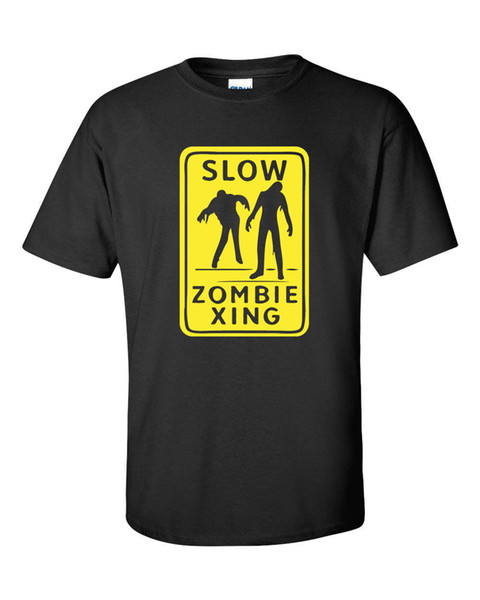 SLOW ZOMBIE XING Street Crossing Sinal Walking Dead Amarelo Prnt dos homens TShirt703Funny frete grátis T casual