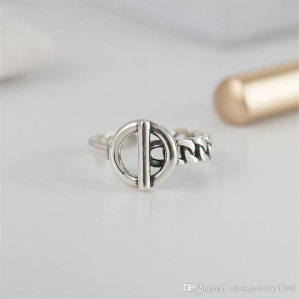 Vintage Men Fine Jewelry Authentic 925 Sterling Silver Lock Wedding Ring Bague Femme Geometric Rings For Women YMR406
