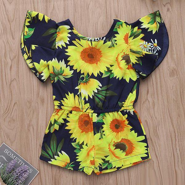 Baby Girl Summer Jumpsuit INS Kids Children Sunflower Print Romper Toddler Short sleeve cloth 5Size choose