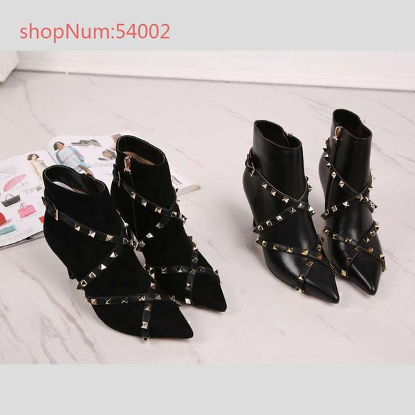 The new comfortable breathable pedal of European Station in early spring, with leather square buckles and women's shoes boots, size 34-40