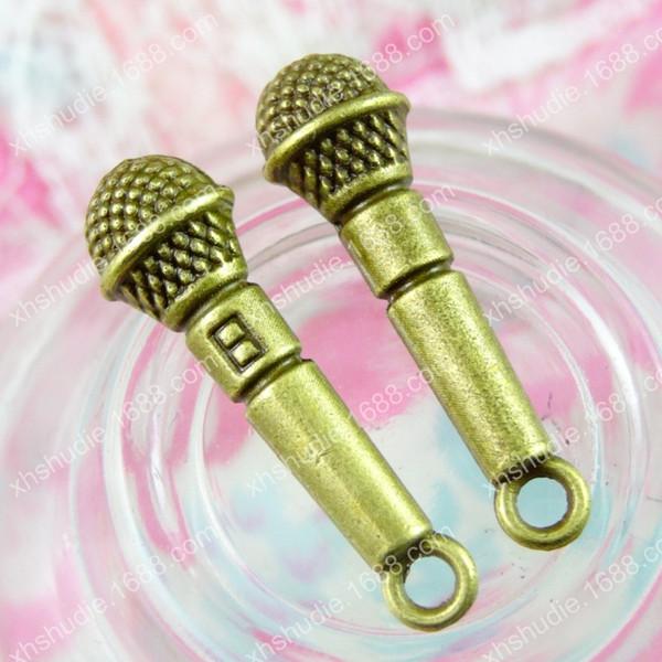 50pcs 25*7MM tibetan antique bronze Microphone Mike megaphone charm for bracelet vintage metal pendants earring handmade DIY jewelry making