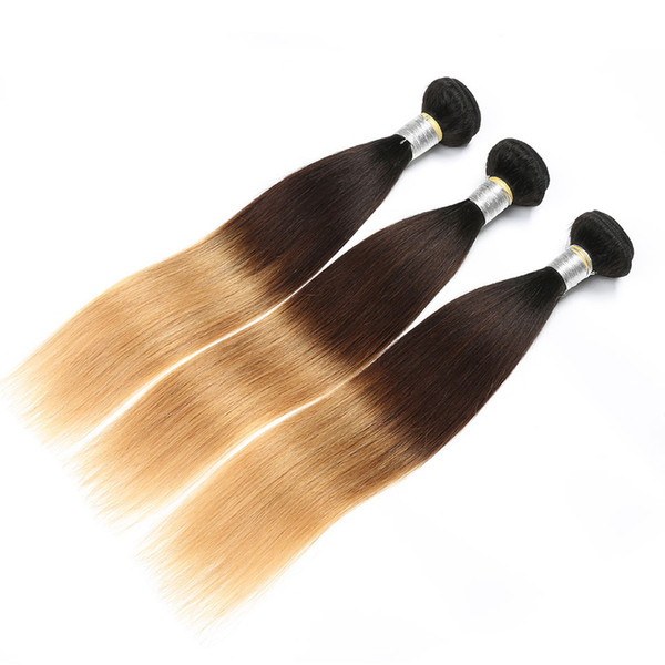 Ombre Brasilianisches Haar Gerade Ombre Blonde Menschenhaarwebart Bundles T1B / 4/27 Nicht Remy Haarverlängerungen Blonde Bundles 3 Stücke