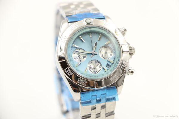 New luxury brand 36MM Casual quartz chronograph chrono womens women watch watches ladies wristwatch blue shell dial with date window