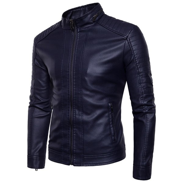 European American Style Men's Slim Jacket Men , Fashion Solid Color Tight Motorcycle Winter Windproof Warm Black Leather Jacket