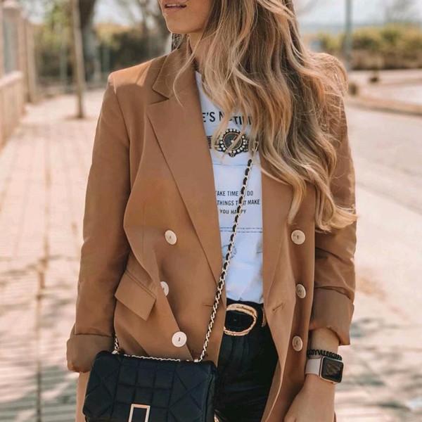 Верблюжий цвет пиджак женский V шеи двубортный с полным рукавом офис леди стильный случайный пиджак пальто один длинный пиджак femme