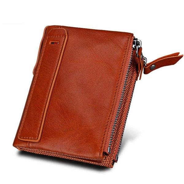 Genuine Cow Leather Women Wallets RFID Short Card Holder Purse Double Zipper Coin Pocket Vintage High Quality Wallets For Girl