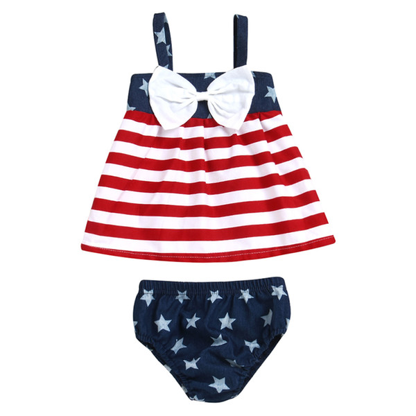 2Pcs Toddler Infant Baby Girls Kids 4th of July USA Striped Bowknot Slip American Flag Tutu Dresses Shorts Outfit Set(0-6M)