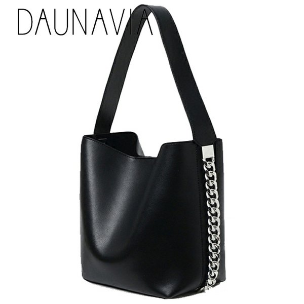 Daunavia Brand New Balde Saco de Lazer Cadeia Decoração Ampla Bolsa de Ombro Messenger Bag Bolsa de Alta Capacidade Tote Designer J190518