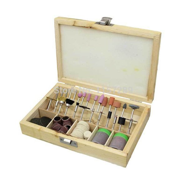 Rotary Tool Accessories - Set of 100 Pieces polishing wheel in wooden box Free Shipping