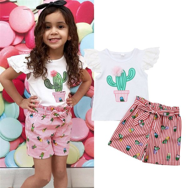 Summer Two Pieces Set Toddler Baby Girl Clothes Lace Cactus Flower T Shirt Top Belt Stripe Shorts Pants Baby Kids Clothes Outfit