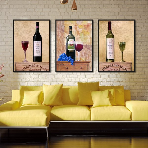 Kitchen Bar Room Decor Canvas Painting Framework Cup Wine Glass Posters and  Prints Retro Modern Wall Art Picture for Living Room