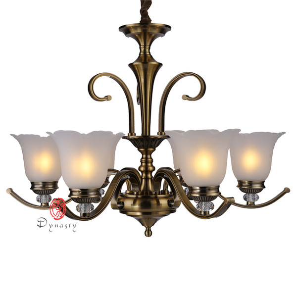 dynasty lighting luxury chandelier glasses antique brass copper hanging lights decoration iron fixture l project cafe lounge