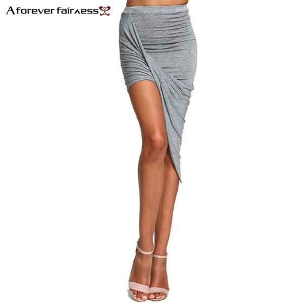 2019 femmes d'été jupe ourlet pli croisé sexy wrap bandé taille femmes drapées jupe coupée crayon asymétrique jupes xs-xxxl 504 y19050602