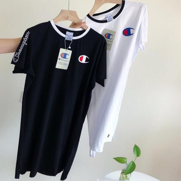 New Fashion Champi0n Summer Dress Long T Shirt High Street Brand Women Clothes Cotton Womens Designer Dress White & Black Color M-XL