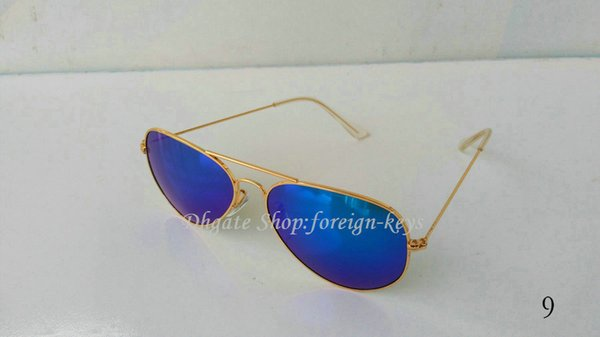 Google selling style Women's Sunglass Classic style Men's Sunglasses Glass Lens Blue Lens With Brwon cases.