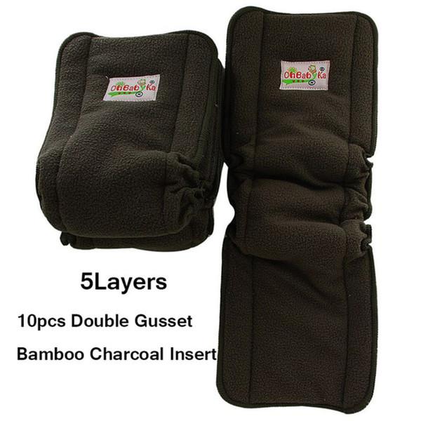 Ohbabyka Bamboo Charcoal Diaper Inserciones elásticas para pañales de bebé Reutilizable Paño de tela lavable Insertar Fraldas De Pano 10pcs / Pack