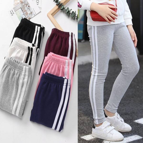 Çocuk kız Dikey çizgili Tayt 2019 İlkbahar Sonbahar pamuk çocuk Tayt moda Butik Spor pantolon Çocuk Sweatpants Giyim C6167
