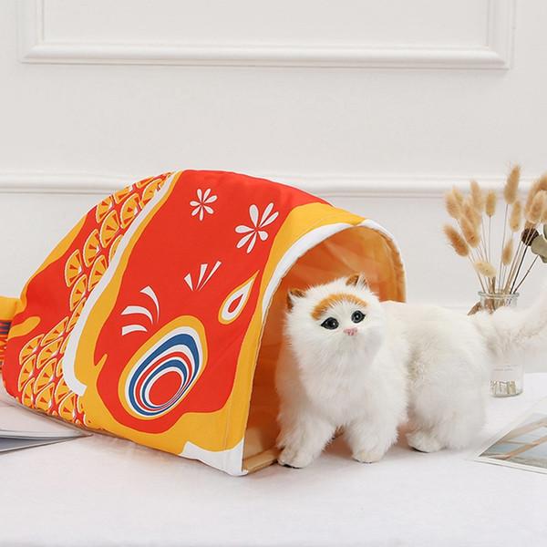 3 cores gato bonito pet em forma de peixe túnel cama para gatinhos gato à prova d 'água all seasons saco de dormir