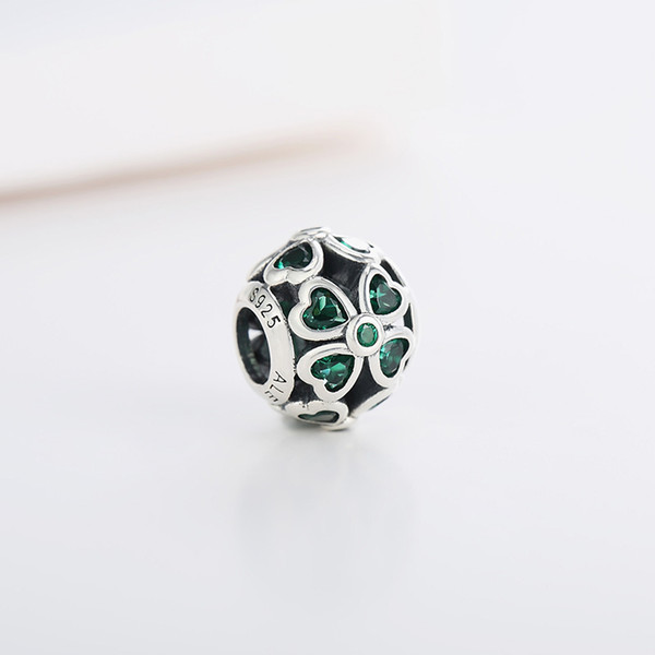 Spring Authentic Real 925 Sterling Silver Leaves Clover Pandora Charms Fit Pandora Bracelet