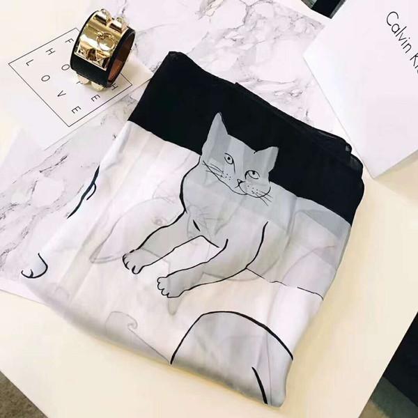 2019 nuova sciarpa di seta come grande sciarpa in raso moda gatto disegno avvolgere la sciarpa collo per i regali delle donne