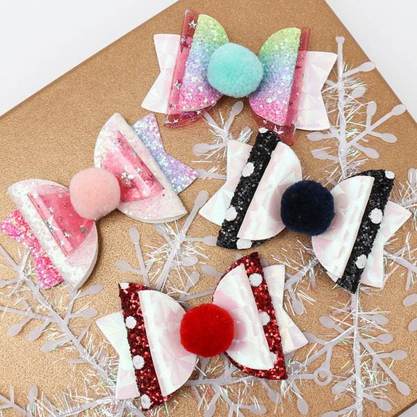 INS 3 pulgadas pinzas para el cabello de lentejuelas arco iris niñas brillar el pelo arquea niños barrettes trabajo hecho a mano bebé BB accesorios para el cabello clip de diseñador niñas A9675