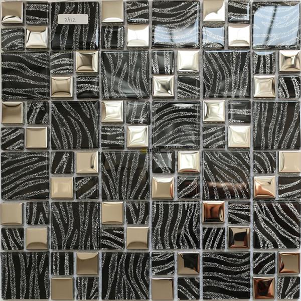 Черный Кристалл стеклянная мозаика кухня плинтус плитка JMFGT003 гальванического серебра стеклянной плитки стены ванной комнаты