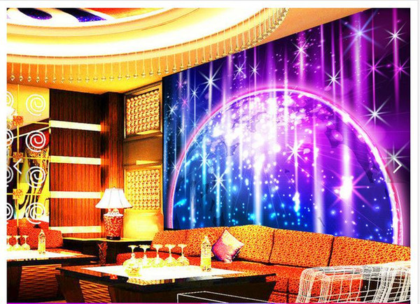 Customized 3d photo wallpaper 3d wall mural wallpaper Star light rainbow bar KTV background wall paper living room decoration