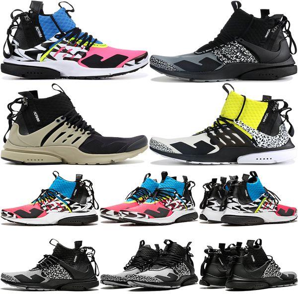 2019 Presto Mid X Acronym Hombres Zapatillas Racer Pink Cool Grey Darts Street Camuflaje Graffiti Diseñador Zapatos Zapatillas 36-45
