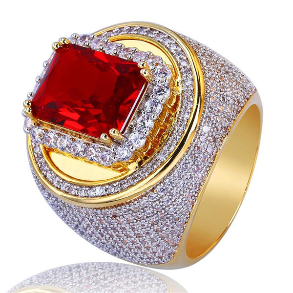 Hip Hop chapado en oro anillos para hombre Joya de circonio cúbico Zirconia roja Hiphop anillo para hombre de moda