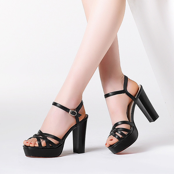 Pop2019 Platform Waterproof Genuine Leather Sandals Woman High Coarse With Solid Color High-heeled Crossing Bandage Tide Women's Shoes