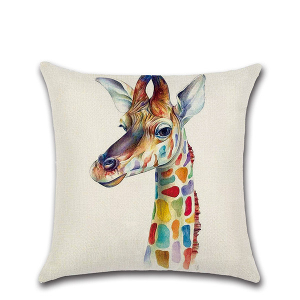 Colorful cartoon Giraffe zebra rhino elk Cushion Cover Decoration for Home sofa chair seat pillow case friend present kids gift