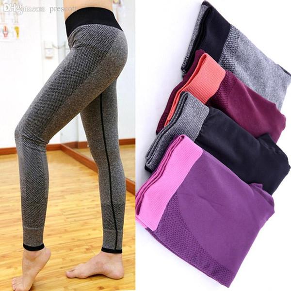 top popular Wholesale-Women Fashion Tight Sportwear Nice Leggings High Elastic Thin Sports Yoga Pants Fitness Running Long Trousers Legging 2019