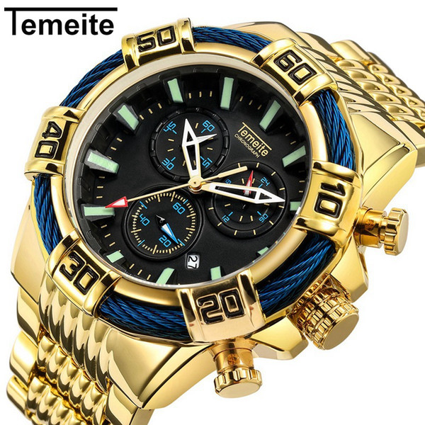 Venda Por Atacado grande mostrador do relógio de pulso de quartzo relógios de ouro azul Mens Top marca de luxo à prova d 'água moda multifuncional homem relógio