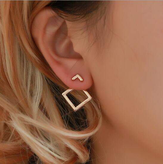 2019 New Arrival European and American Style Simple Geometric Hollow-out Square Triangle Stud Earrings for Women E5559