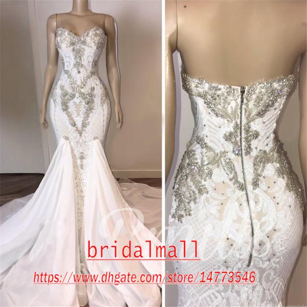 Robes de mariée 2020 cristaux perles sirène sexy robes de mariée en dentelle longues Appliques Robes de mariée grande taille robe de mariée Robes de Novia