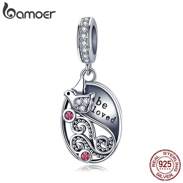 wholesale Genuine 925 Sterling Silver Love Messenger Bird Pendant Clear Cubic Zircon Charms Fit Bracelets Necklaces Jewelry SCC1015