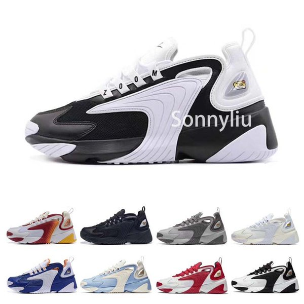 M2K Tekno Mens Designer Running Shoes 2019 Men Casual Air Zoom Dad Shoes Women Leather Trainers 2000 Outdoor Hiking Sports Sneakers 36-45