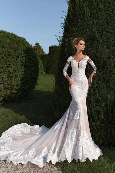 2019 Nova FA Slim Magro Lace Applique Vestidos De Noiva Vestidos De Casamento Jardim Vestidos Ilusão Sheer Mangas Compridas Botões Cobertos Trem Capela