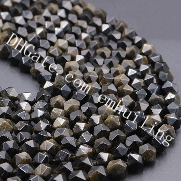 10 Full Strands Star Cut Faceted Golden Sheen Obsidian Nugget Beads 6mm 8mm 10mm 12mm Natural Black Obsidian Gold Flash Gemstone Loose Beads