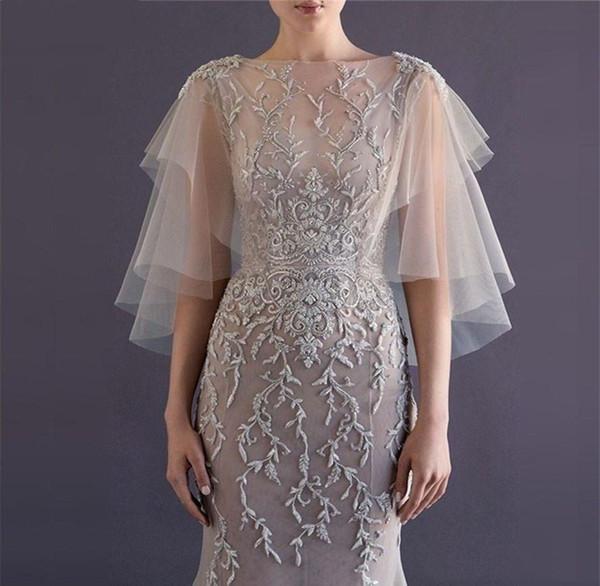 Compre Elegante Bolero De Renda De Casamento Bolero Wraps Capa Vestido Duas Camadas De Tule Macio Rendas Lantejoulas Mulheres Bolero Primavera