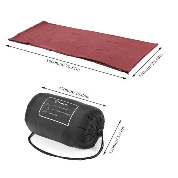 Outdoor Warm Cozy Fleece Sleeping Bag without Hat Zippered Sleeping Bag Liner with Carry Storage HS202