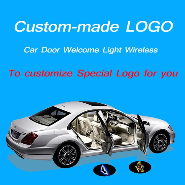 LZLRUN 4x Custom Logo Wireless Laser Projector Car Door Step Courtesy Welcome Lights Puddle Ghost Shadow LED Lights Upgraded Smart Universal Senseor Car Door Led Logo Projector Light