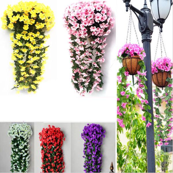 Menekşe Yapay Çiçek Dekor Simülasyon düğün Duvar Asılı Sepet Çiçek asma Orkide İpek Çiçek rattan açık koridor DIY