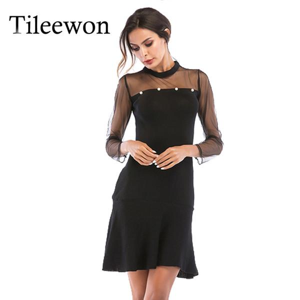 2019 Vintage Autunno Donne Streetwear Dress Sexy Solid Pearl Mesh maniche lunghe Ruffles Dress abiti eleganti partito femminile nero